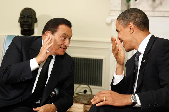 US president Barack Obama cosies up to Egyptian strongman Hosni Mubarak last
