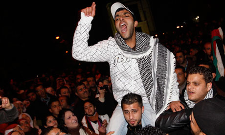 Young Jordanians celebrate in Amman last Friday after Hosni Mubarak's ouster