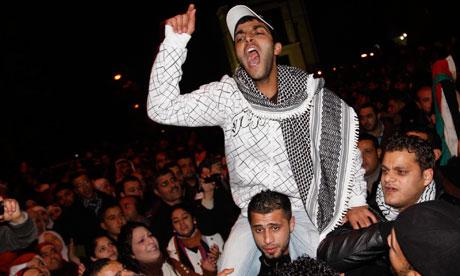 Young Jordanians celebrate in Amman last Friday after Hosni Mubarak's ouster