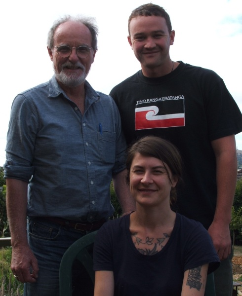 Kia Ora Gaza's newly elected executive: Tali Williams (seated), Roger Fowler (back left) and Hone Fowler