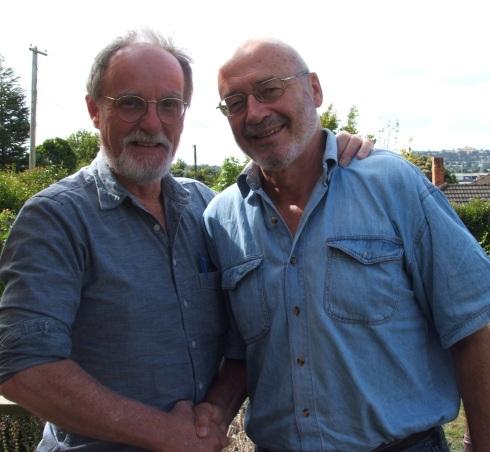 Grant Morgan (right), retiring chair of Kia Ora Gaza, congratulates his successor, Roger Fowler
