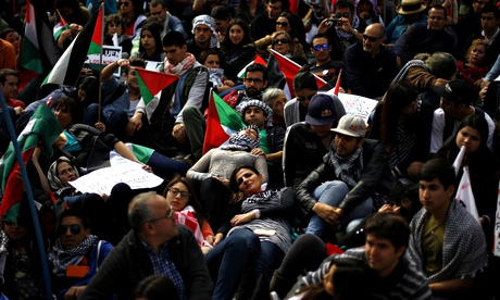 A rally for peace in Gaza, in Santiago, Chile.