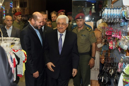 Palestinian President Mahmoud Abbas  during a tour of Ramallah city