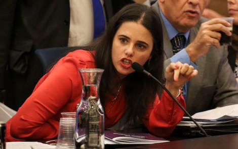 Bayit Yehudi Member of Knesset, Ayelet Shaked, speaks during the State Cotrol Committee at the Knesset, discussing budgets for Israeli settlements, on November 10, 2014. Photo by Hadas Parush/Flash90