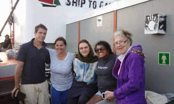 Maori TV journalist Ruwani Perera and free-lance cameraman Jacob Bryant with other international participants aboard Marianne
