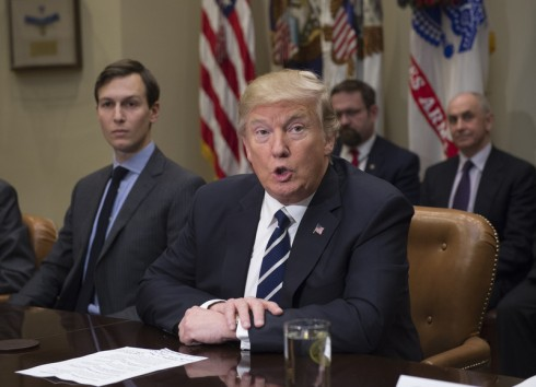 President Donald Trump speaks next to Jared Kushner, senior advisor and son-in-law, prior to a listening session with cyber security experts in the Roosevelt Room of the White House in Washington D.C., January 31, 2017.  Photo by Molly Riley/UPI (Newscom TagID: upiphotostwo507014.jpg) [Photo via Newscom]